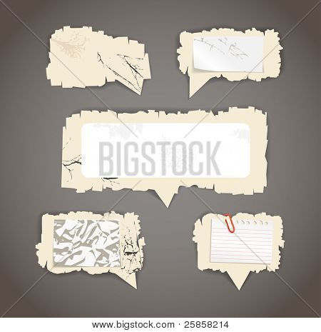 Scratched paper speech clouds. Place your text here