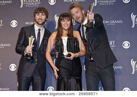 LAS VEGAS - APRIL 3 - Lady Antebellum in the press room at the 46th Annual Academy of Country Music Awards in Las Vegas, Nevada on April 3, 2011.  Lady Antebellum won the award for Top Vocal Group.