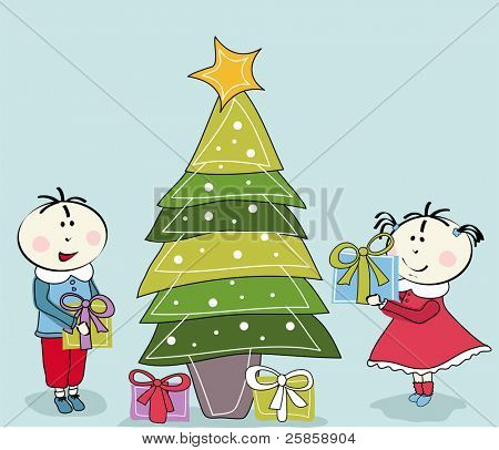 little girl, little boy and Christmas tree