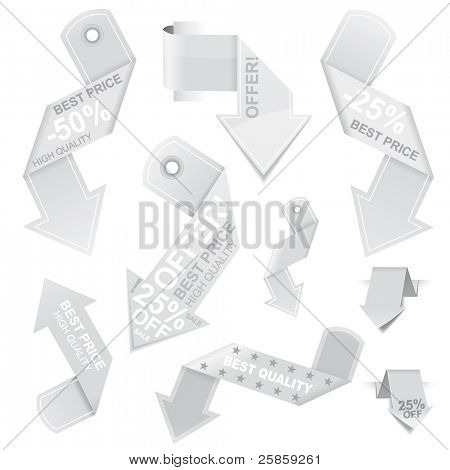Origami arrow shaped vector price tags with different design