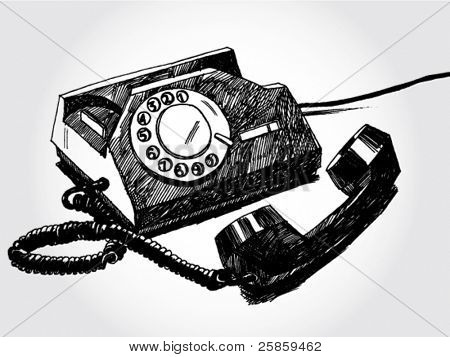 Hand Drawn Illustration of Retro Telephone