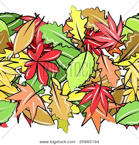 Seamless horizontal border with autumn leaves on white. Raster version.