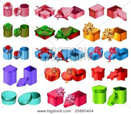 Big collection of gift boxes. Different shape and color. Raster version.