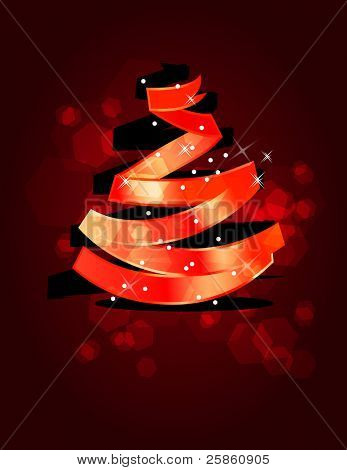 Stylized Christmas tree made of  red ribbon. Raster version.