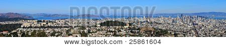 San Francisco Panorama View From Twin Peaks