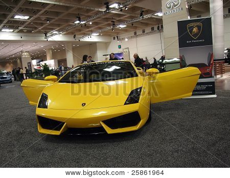 Yellow Lamborghini Car With Doors Open
