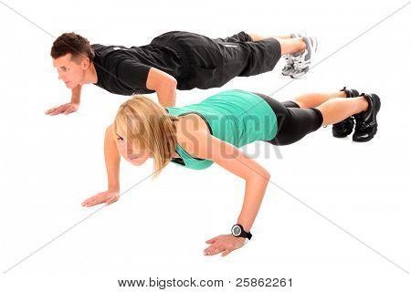 Ein Bild eines jungen Paares working out over white background