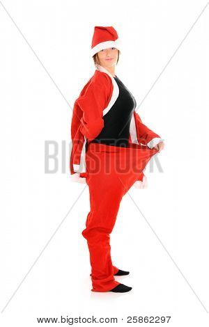 A picture of a Santa in baggy trousers over white background