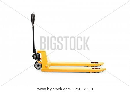 A studio shot of an empty fork pallet truck stacker isolated on white background