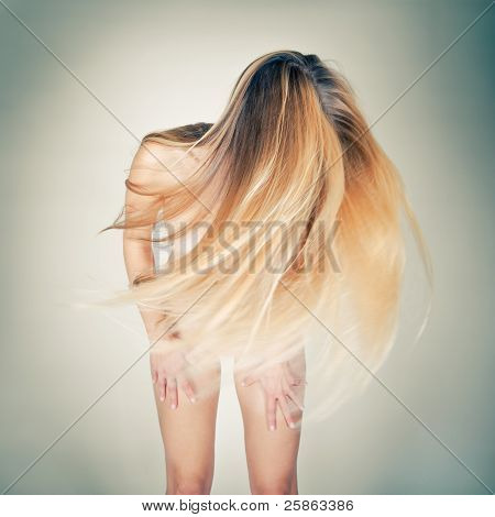 Nude Woman With Long Blond Hair
