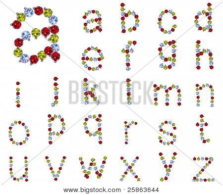 High resolution conceptual Christmas font isolated on white background , made of red,yellow and blue globes, ideal for Christmas,holiday,religion designs. It is a set, group or collection of letters