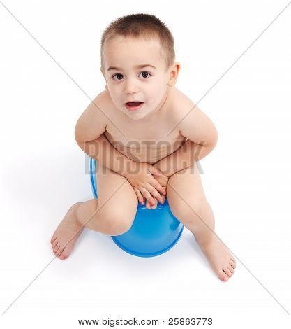 Little Boy Sitting On Potty