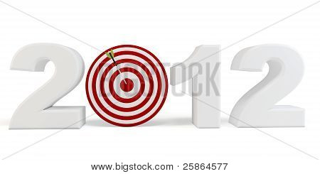 3D Happy New Year 2012  Red Target