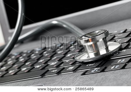 stethoscope on keyboard
