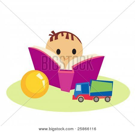 cute little boy with book and toys