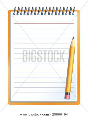 vector illustration of notebook with pencil