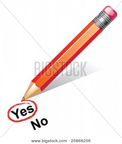 vector illustration of red pencil choosing yes
