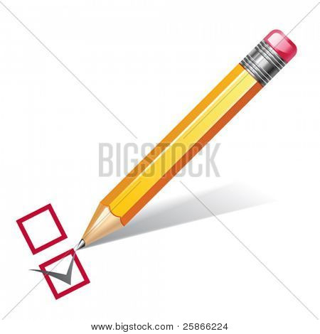 vector illustration of pencil with checklist