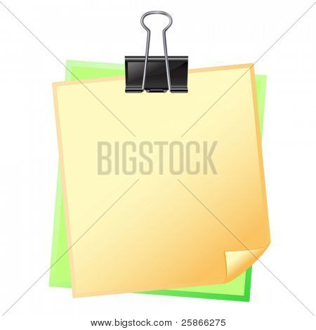 vector illustration of colored paper with fastener