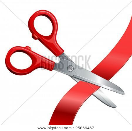 vector illustration of scissors cut off the tape