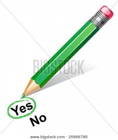 vector illustration of green pencil choosing yes