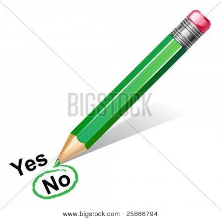 vector illustration of green pencil choosing no