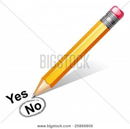 vector illustration of pencil choosing no