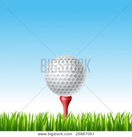 vector illustration of Golf ball on a tee on a grass