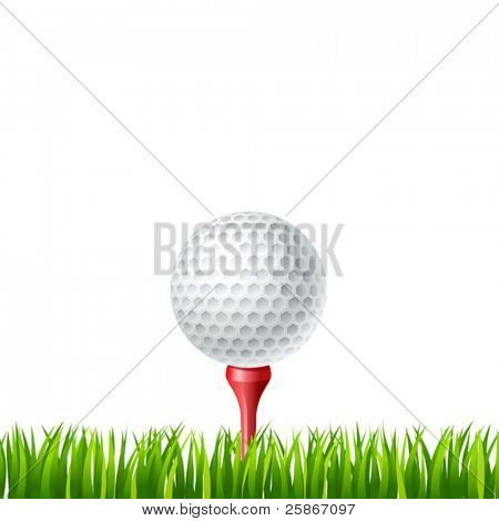 vector illustration of Golf ball on a tee