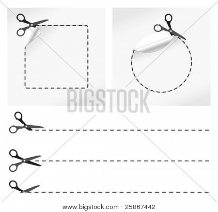 Ilustración de vector de tijeras corte pegatinas