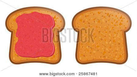 vector illustration of Toast with jam