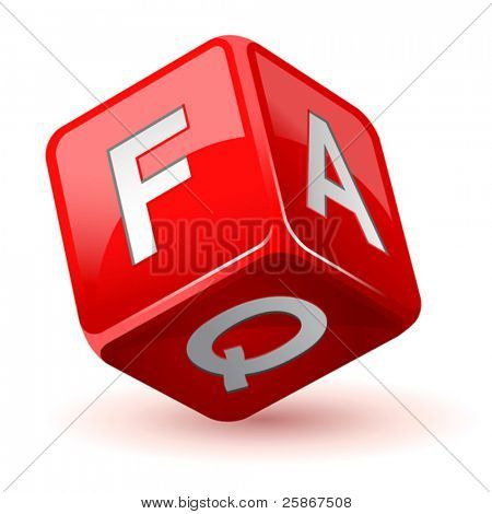 vector illustration of dice faq icon