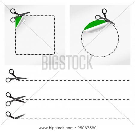 Ilustración de vector de tijeras. Etiqueta engomada del vector
