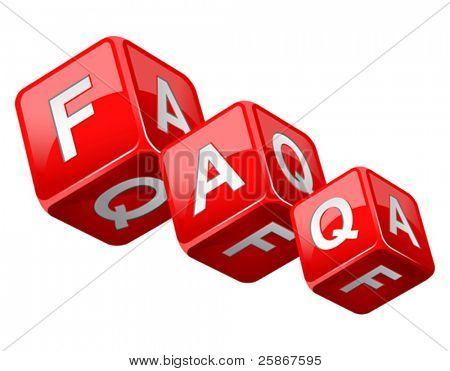 vector illustration of dice faq