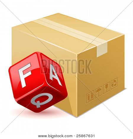 vector illustration of free shipping. FAQ icon