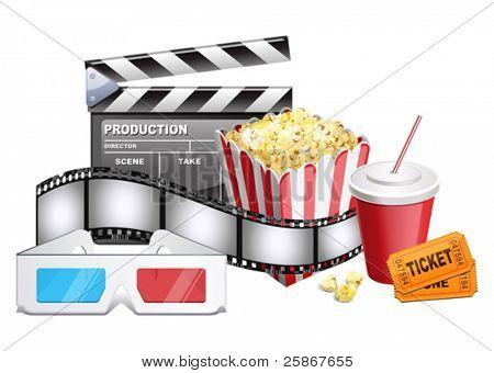 Hintergrund des Films Verwandte Artikel. Vektor-Illustration des 3-d Gläser, Pappe, Popcorn, Ticket, c