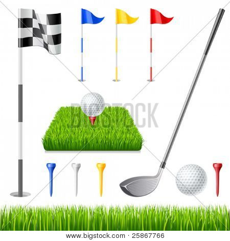 Golf icon set. Golf club, golf flag, golf ball and green glass