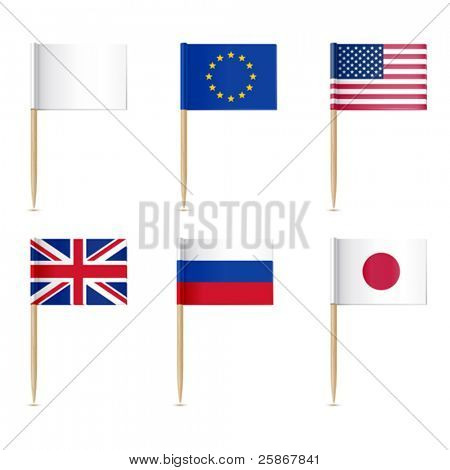 Flags toothpick. American, Europen union, United Kingdom, Russian, Japanese flags