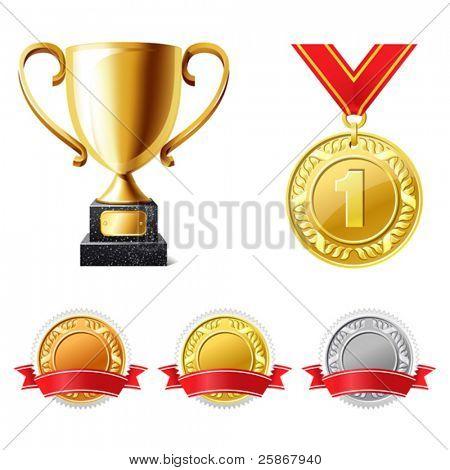 Trophäe-Pokal und Medaillen