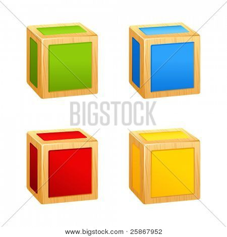 colored wooden cubes icon. box