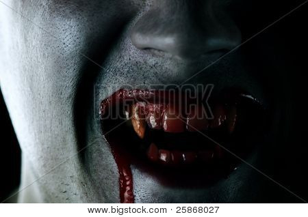 vampire mouth with blood closeup