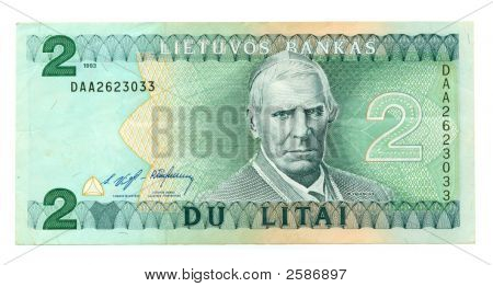 Lithuanian Banknote At 2 Litas, 1993