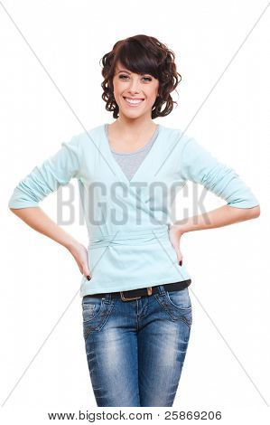 portrait of attractive smiley woman over white background
