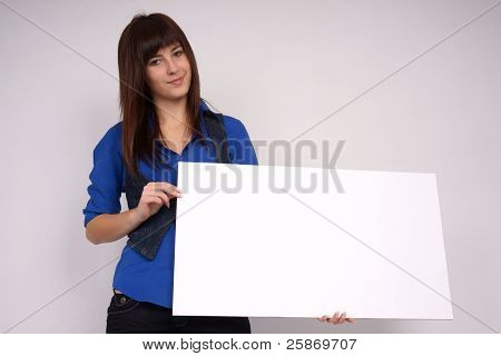 Girl with blank banner.