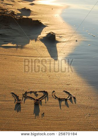 sign in sea beach sand