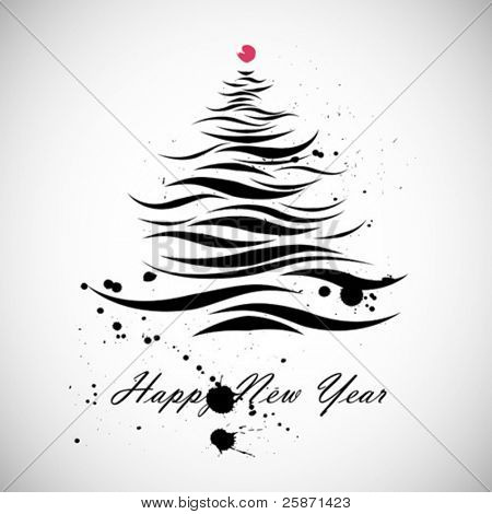 New Year Christmas tree shape in calligraphic style