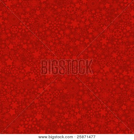 Red snowflakes texture. Vector seamless pattern