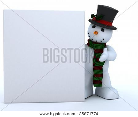 3D Remder of a Snowman in hat and scarf