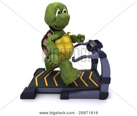 3D Render of a Tortoise running on treadmill