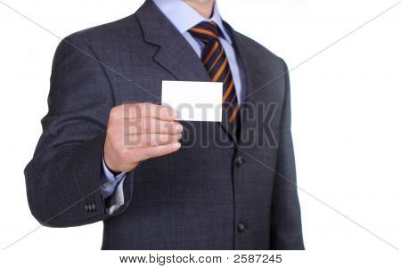 isolated business man show a blank